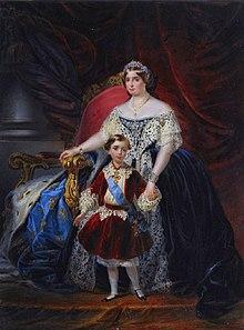 La princesse Louise d'Artois et son fils Robert Ier, duc de Parme (1854).