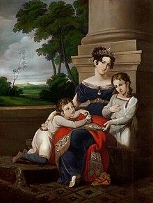 Albert (links) mit seiner Mutter Luise und Bruder Ernst (Gemälde von Ludwig Döll, 1823–1824) (Quelle: Wikimedia)