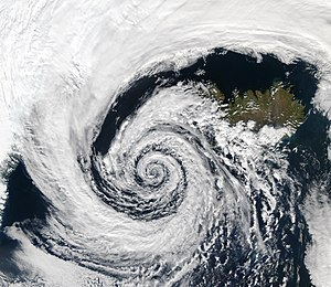 Logarithmic spiral - An extratropical cyclone over Iceland shows an approximately logarithmic spiral pattern
