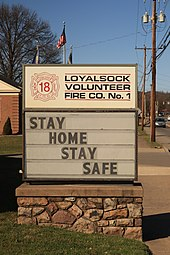 "Pennsylvania fire company sign saying, ""Stay Home, Stay Safe"""