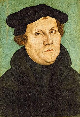 Marburg Colloquy - Image: Lucas Cranach d.Ä. (Werkst.) Porträt des Martin Luther (Lutherhaus Wittenberg)