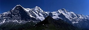 English: Eiger, Mönch and Jungfrau, view from ...