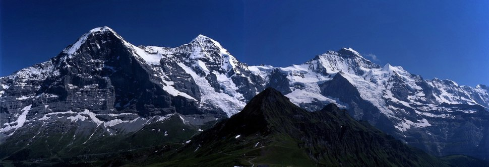 A view from the Männlichen of the Eiger, Mönch and Jungfrau (left to right)