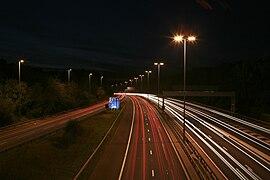 M27 westbound, Chilworth, by night - geograph.org.uk - 272143.jpg