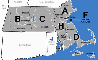 Massachusetts State Police - Image: MA Troop Map
