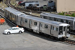 New Technology Train - Two R110B cars, the B Division NTT prototype, stored at 207th Street Yard.