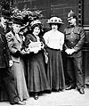 Mabel Capper and Suffragettes with Petition.jpg