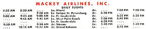 Mackey Airlines - Mackey Airlines time table from December 1962