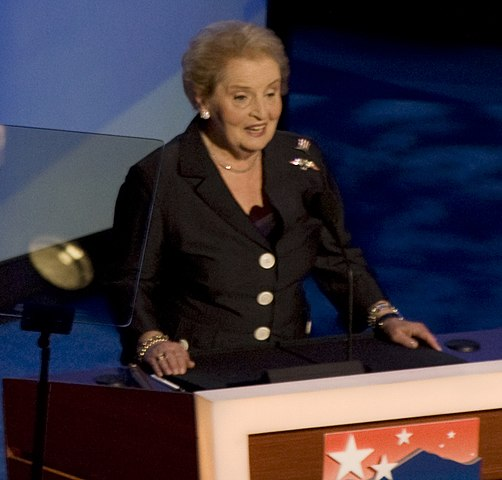 Albright speaks during the third night of the 2008 Democratic National Convention in Denver, Colorado