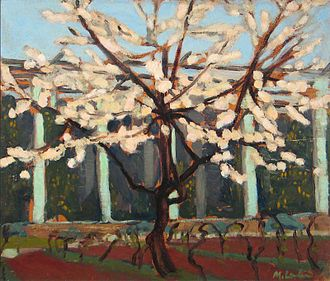 Maggie Laubser - Pink Blossoming Tree, (1920–1921), oil on cardboard, 340 x 400 mm, Sanlam Art Collection