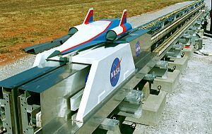 StarTram - A track on test model scale for lower velocity magnetic launch assist.