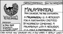 """Malamanteau"", one of the xkcd comics, parodying Wikipedia's writing style."