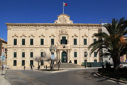 Auberge de Castille in Valletta, an example of 18th century Baroque architecture built by the Order. Malta - Valletta - Pjazza Kastilja+Auberge de Castille 01 ies.jpg