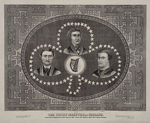 Manchester Martyrs - Portraits of the Manchester Martyrs – Michael O'Brien, William Philip Allen and Michael Larkin – in a shamrock