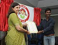 "Maneka Sanjay Gandhi felicitating Shri Raghavendra from Hyderabad, award winner of Logo Design Competition of ""Beti Bachao Beti Padhao"" campaign, at a press conference, in New Delhi on September 17, 2014.jpg"