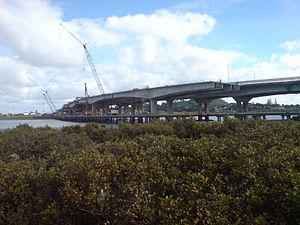 Mangere Bridge (bridges) - The new bridge being constructed on the eastern side of the existing bridge.