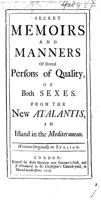 The New Atalantis - Title page from the first edition