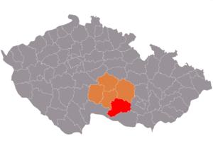 Vị trí huyện Třebíč trong vùng Vysočina trong Cộng hòa Séc