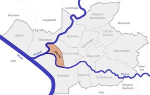 Lage von Bürrig in Leverkusen