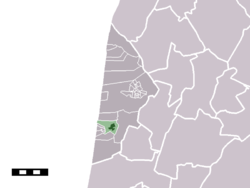 The town centre (darkgreen) and the statistical district (lightgreen) of Egmond aan den Hoef in the municipality of Bergen (NH.)