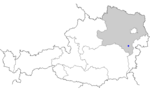 Map of Austria, position of Neunkirchen highlighted