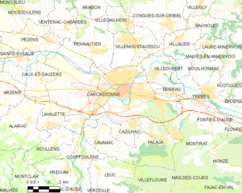 Map of the commune of Carcassonne