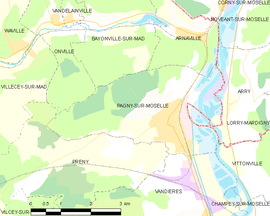 Mapa obce Pagny-sur-Moselle