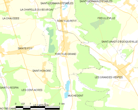 Mapa obce Torcy-le-Grand