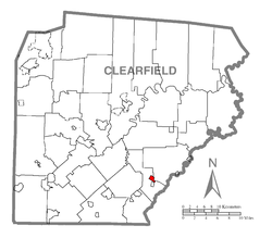 Map showing Brisbin in Clearfield County