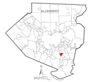 Map of Dravosburg, Allegheny County, Pennsylvania Highlighted.png