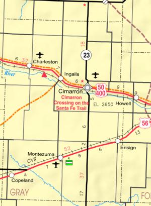 Cimarron, Kansas - Image: Map of Gray Co, Ks, USA