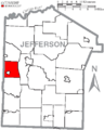 Map of Jefferson County, Pennsylvania Highlighting Clover Township.PNG
