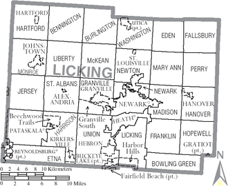 Licking County, Ohio - Map of Licking County, Ohio with Municipal and Township Labels