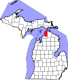State map highlighting Emmet County