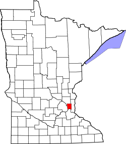 map of Minnesota highlighting Ramsey County