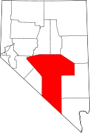 Map of Nevada highlighting Nye County