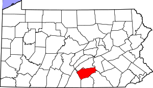 Map of Pennsylvania highlighting Cumberland County
