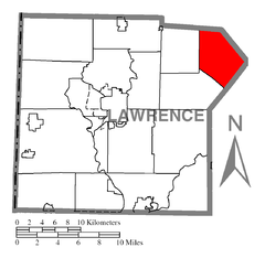 Map of Plain Grove Township, Lawrence County, Pennsylvania Highlighted.PNG