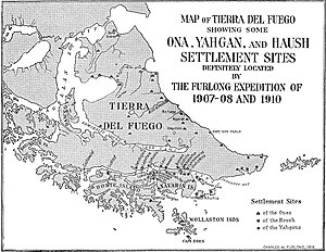 Haush - 1917 map of Tierra del Fuego showing some Ona, Yahgan, and Haush settlement sites