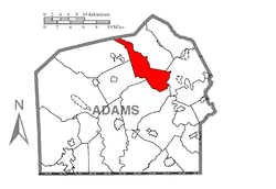 Map of Adams County, Pennsylvania highlighting Tyrone Township