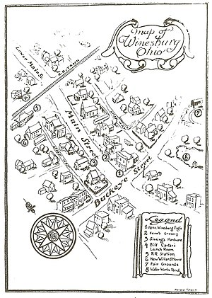 Winesburg, Ohio - Map of fictional town of Winesburg from the 1st edition of Winesburg, Ohio.