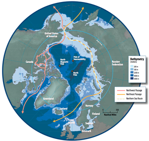Northern Sea Route - Image: Map of the Arctic region showing the Northeast Passage, the Northern Sea Route and Northwest Passage, and bathymetry