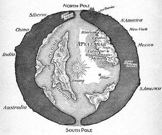 """Hollow Earth - A cross-sectional drawing of the planet Earth showing the """"Interior World"""" of Atvatabar, from William R. Bradshaw's 1892 science-fiction novel The Goddess of Atvatabar"""
