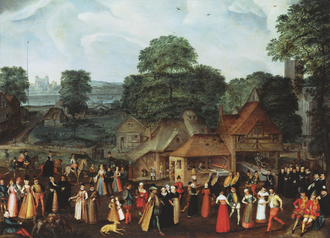 A Fete at Bermondsey by Marcus Gheeraerts the Elder c. 1569, with the Tower of London in the distance. Marcus Gheeraerts the Elder - Festival at Bermondsey.png