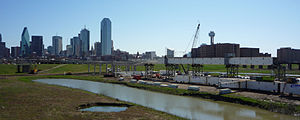 Margaret Hunt Hill Bridge - Image: Margaret Hunt Hill Bridge Construction March 2010