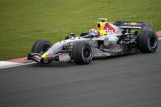 Red Bull Racing - Mark Webber driving for RBR at the 2007 British Grand Prix. Note the special Wings for Life livery.