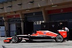 Marussia MR03 in pit.jpg