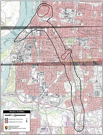Second Battle of Memphis - Map of Memphis II Battlefield core and study areas by the American Battlefield Protection Program.