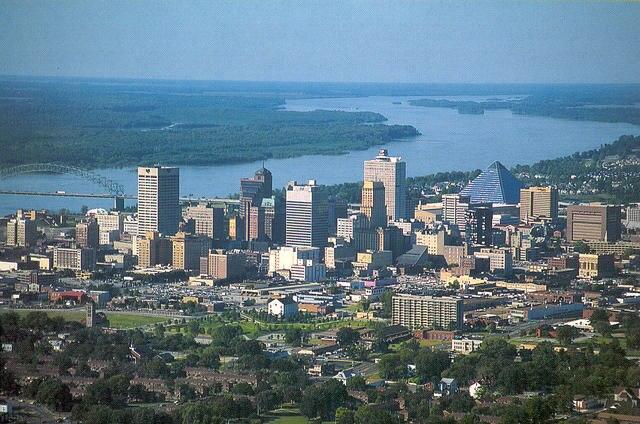 Memphis skyline from the air