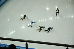 Men's 500m short track, 2014 Winter Olympics, heat 1(3).JPG
